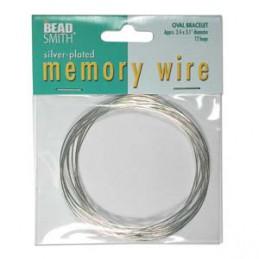 Memory wire, ovaali rannekorukoko 61 x 79 mm, hopeoitu