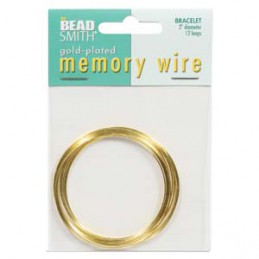 Memory wire, rannekorukoko 50 mm, kullattu (12 kieppiä)