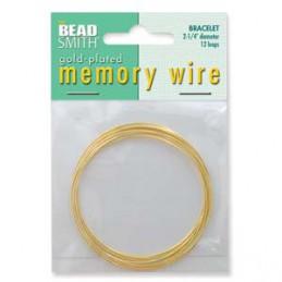 Memory wire, rannekorukoko 57 mm, kullattu (12 kieppiä)