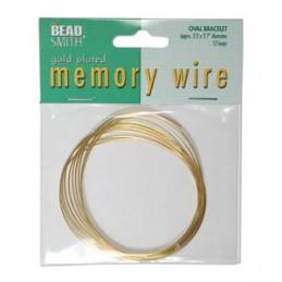 Memory wire, ovaali rannekorukoko 56 x 69 mm, kullattu (12 kieppiä)