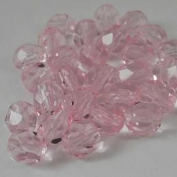 Tsekkiläinen fasettihiottu pyöreä lasihelmi 6 mm, kirkas vaaleanpunainen