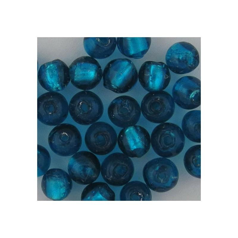Pyöreä lamppuhelmi 8 mm, sinivihreä hopeafolio