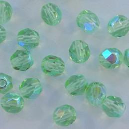 Tsekkiläinen fasettihiottu pyöreä lasihelmi 6 mm, kirkas peridootti AB
