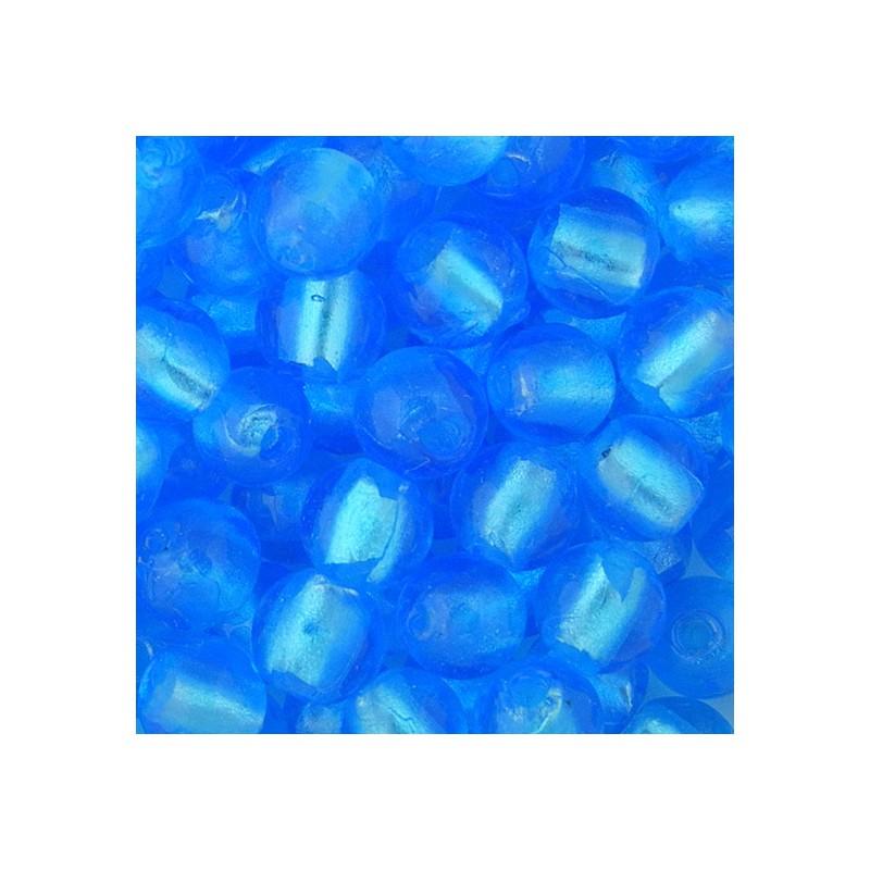 Pyöreä lamppuhelmi 10 mm, sininen hopeafolio