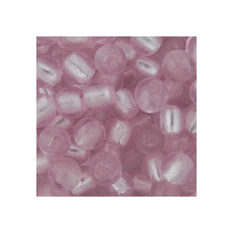 Pyöreä lamppuhelmi 10 mm, vaaleanpunainen hopeafolio