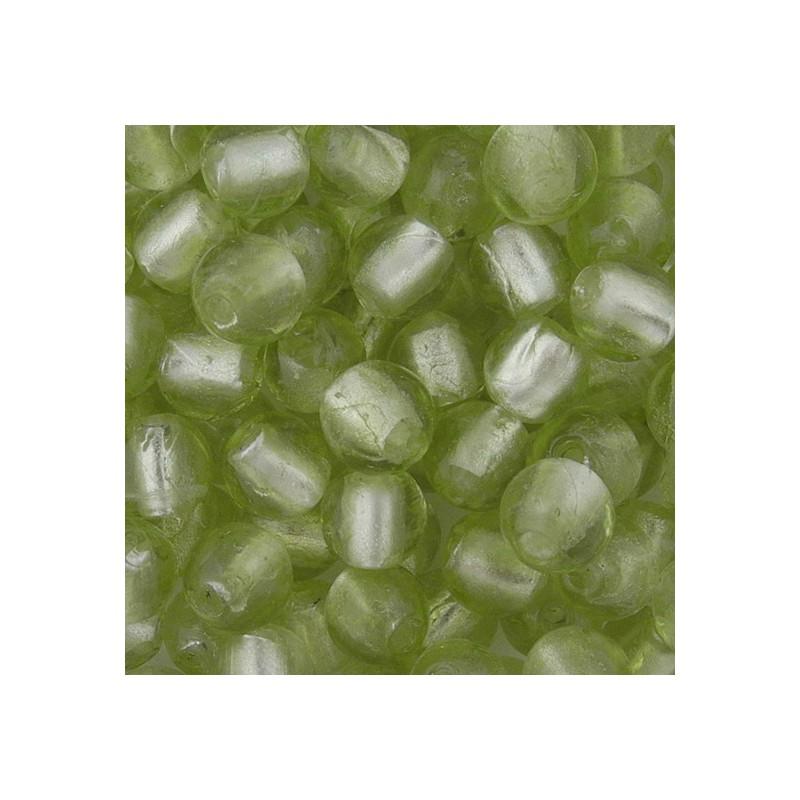Pyöreä lamppuhelmi 10 mm, vaalea oliivi hopeafolio