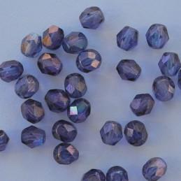 Tsekkiläinen fasettihiottu pyöreä lasihelmi 6 mm, kirkas kiiltävä ametisti