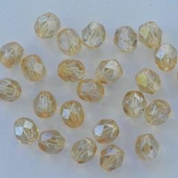 Tsekkiläinen fasettihiottu pyöreä lasihelmi 6 mm, kirkas kiiltävä shampanja