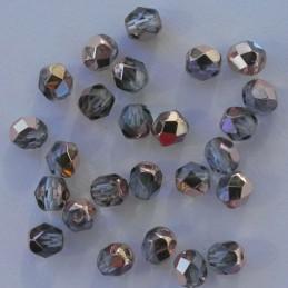 Tsekkiläinen fasettihiottu pyöreä lasihelmi 6 mm, kirkas kuparinen vaalea safiiri